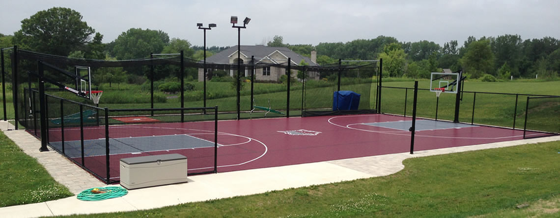 Outdoor basketball court builder power court for Cost for basketball court