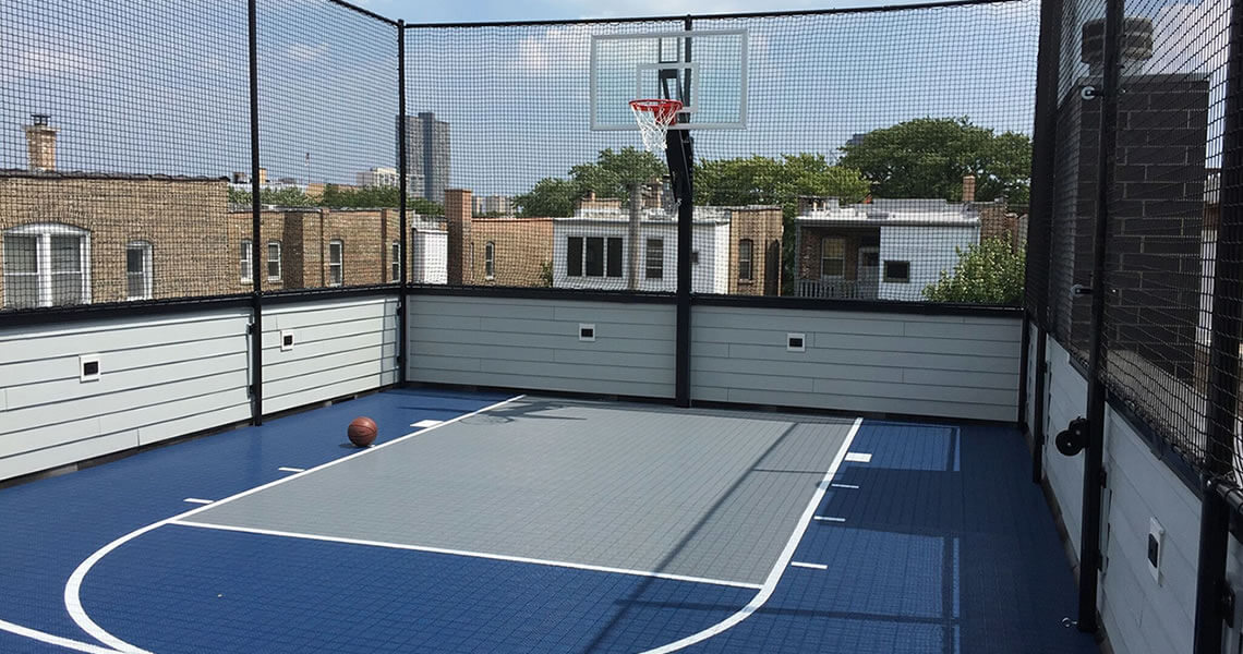 Rooftop courts power court for Design basketball court
